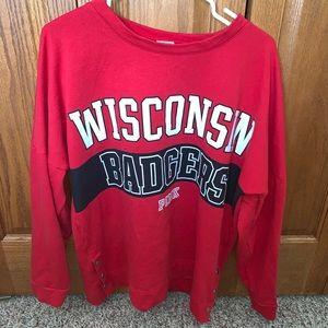 PINK crew neck Wisconsin badgers